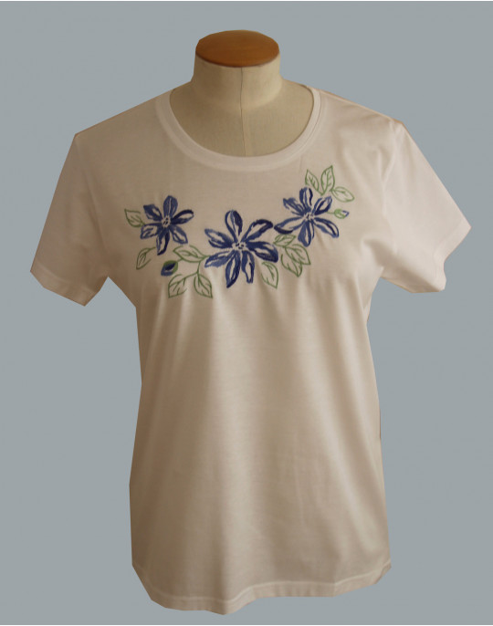 """Clématites"" (clematis) embroidered t-shirt"