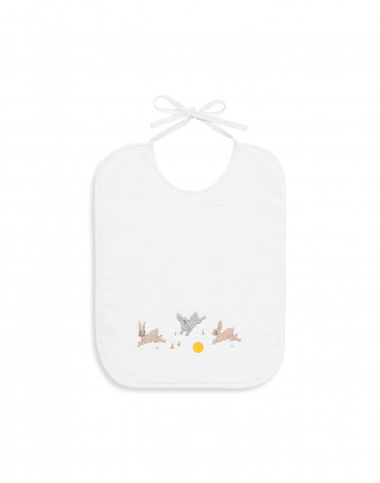Rabbits embroidered bib