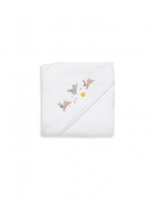 Rabbits embroidered bath towel with hood