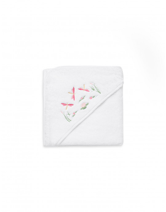 Dragonflies embroidered bath towel with hood