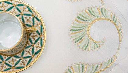 Set de table VAGUES - vert et or