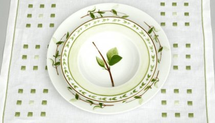 CARRE MAGIQUE VERT placemats and VERDURES plate (RAYNAUD)