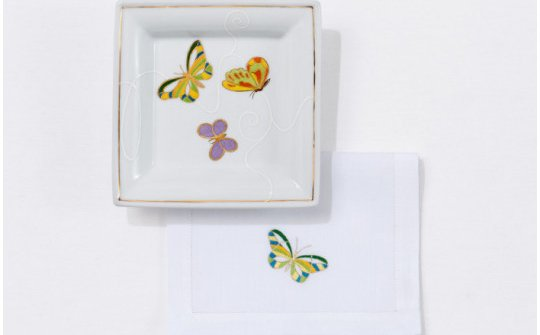 PAPILLONS (butterflies) cocktail napkin and pin tray