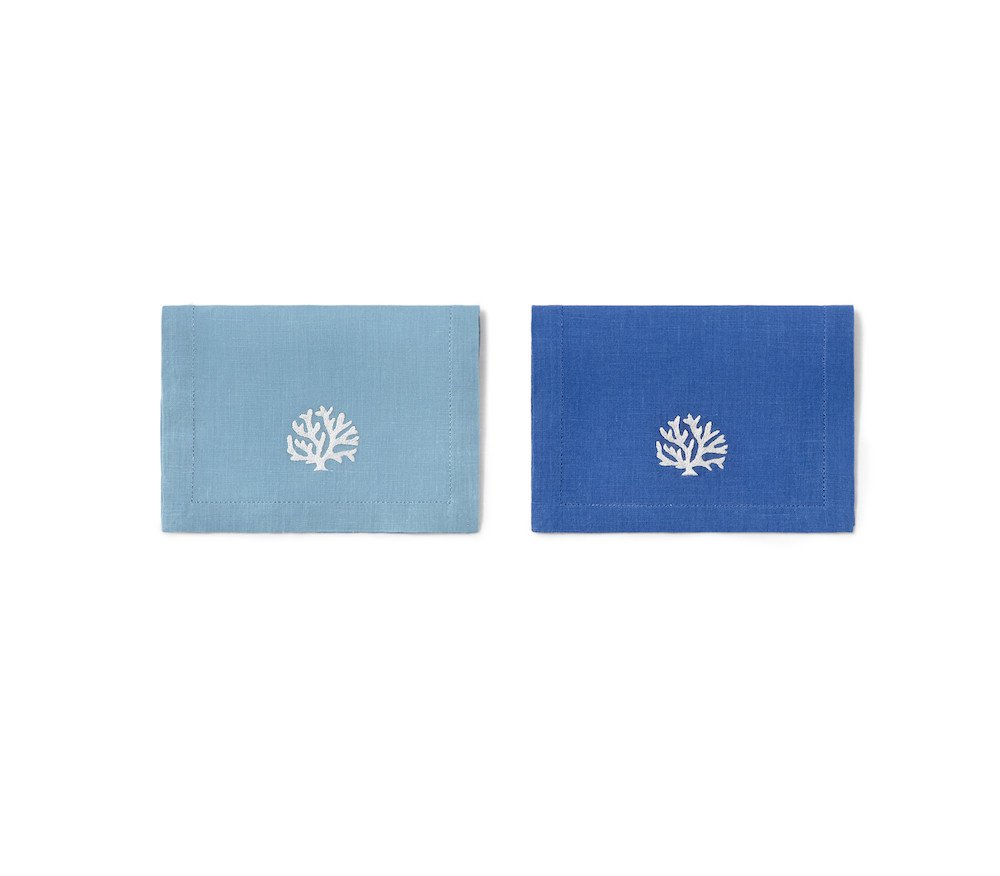 CORAUX cocktail napkins - blue and turquoise linens