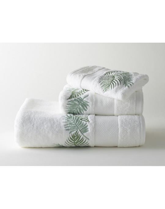 Serviettes éponge brodées AMAZONE (blanc-vert)