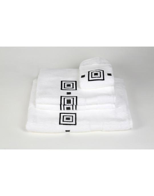 Serviettes éponge brodées PRISME (blanc-gris)