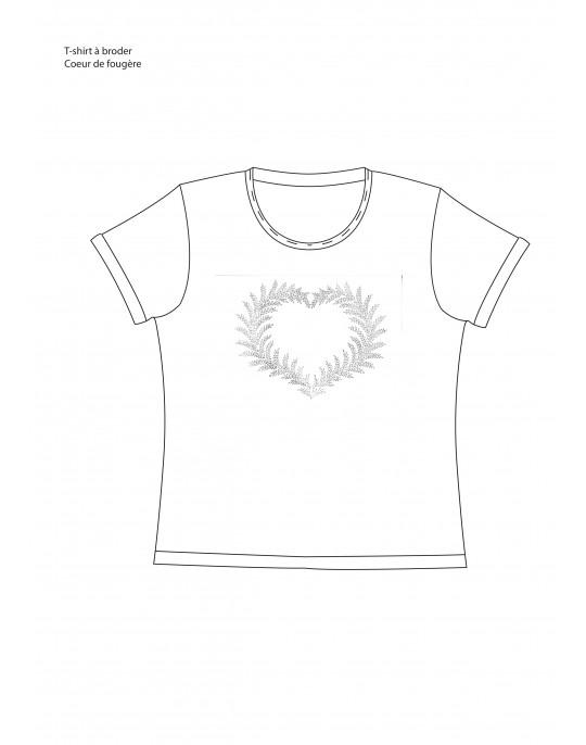 """T-shirt à broder """"Coeur de Fougère"""""""
