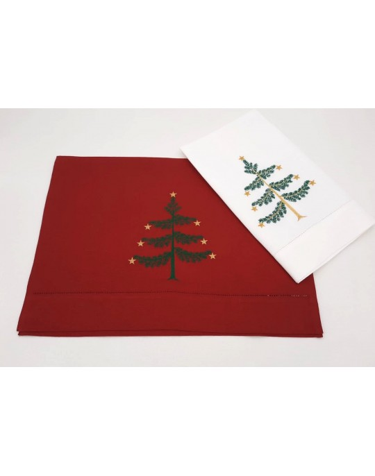 """Sapin"" embroidered guest towels"