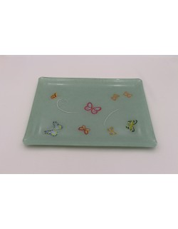 """Butterflies"" embroidered tray"