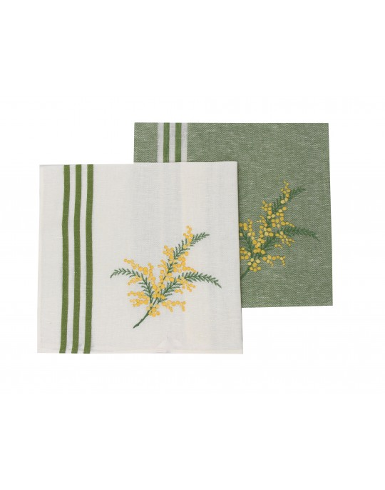 """""""Mimosa""""embroidered dish cloth"""