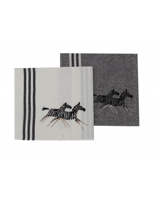 """Zèbres"" (zebra) dish cloth - white and black"