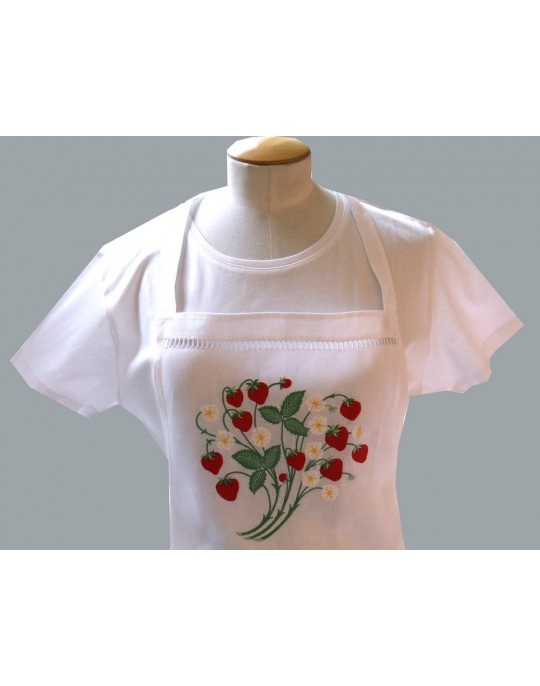 """Fraises"" embroidered  apron"