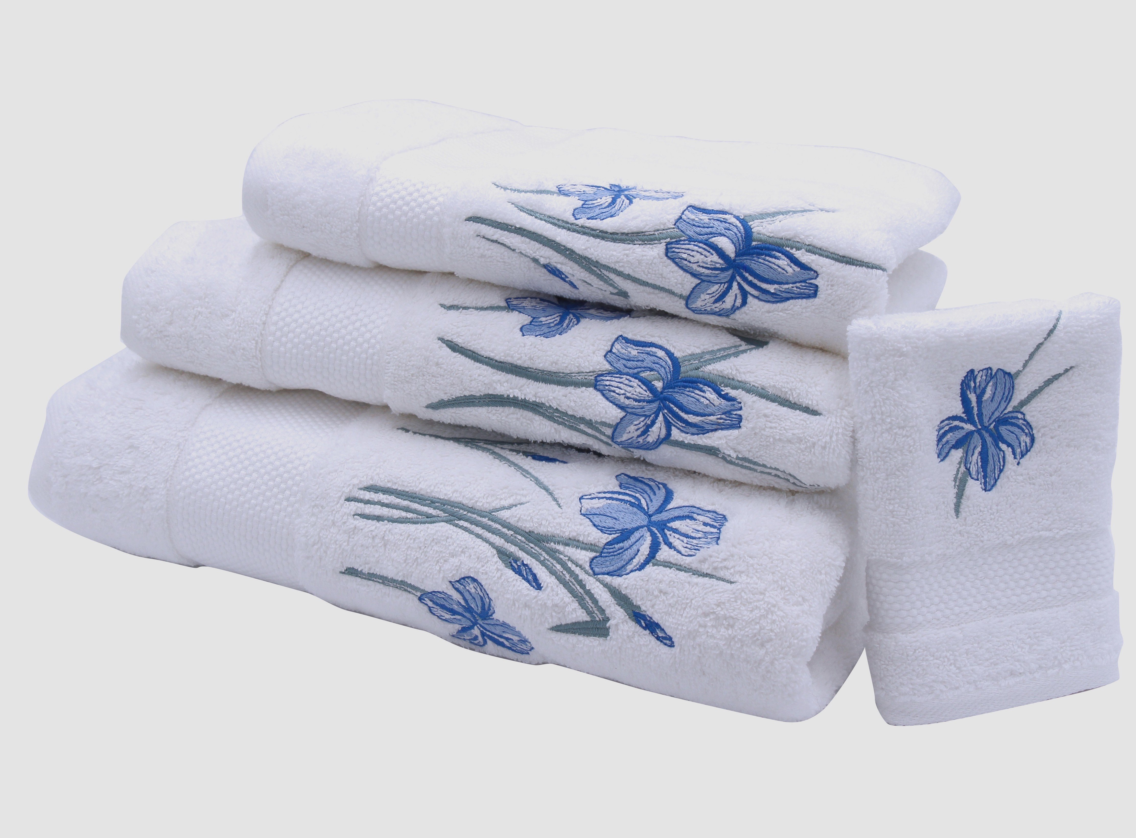 """Fleurs d'Iris"" bath towels"