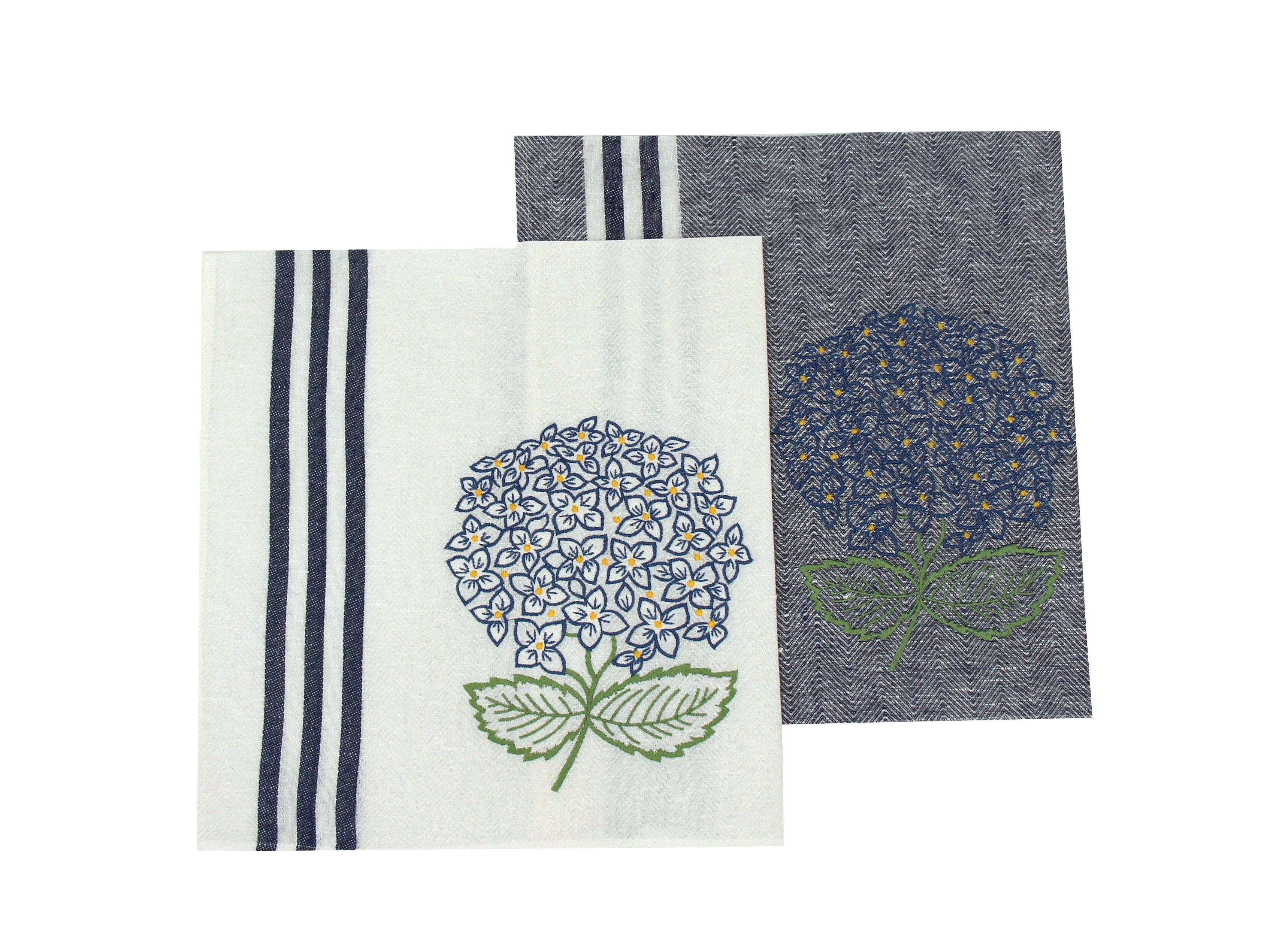 """""""Hortensia"""" embroidered dishcloth"""