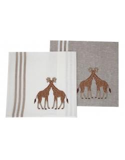 "Torchon brodé ""Girafe"""