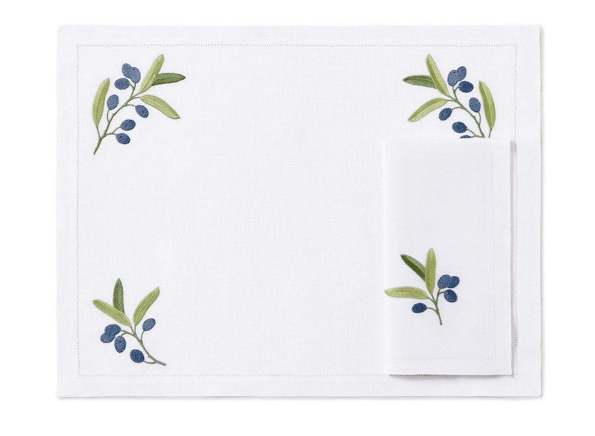 """""""Olives"""" placemat and napkin"""
