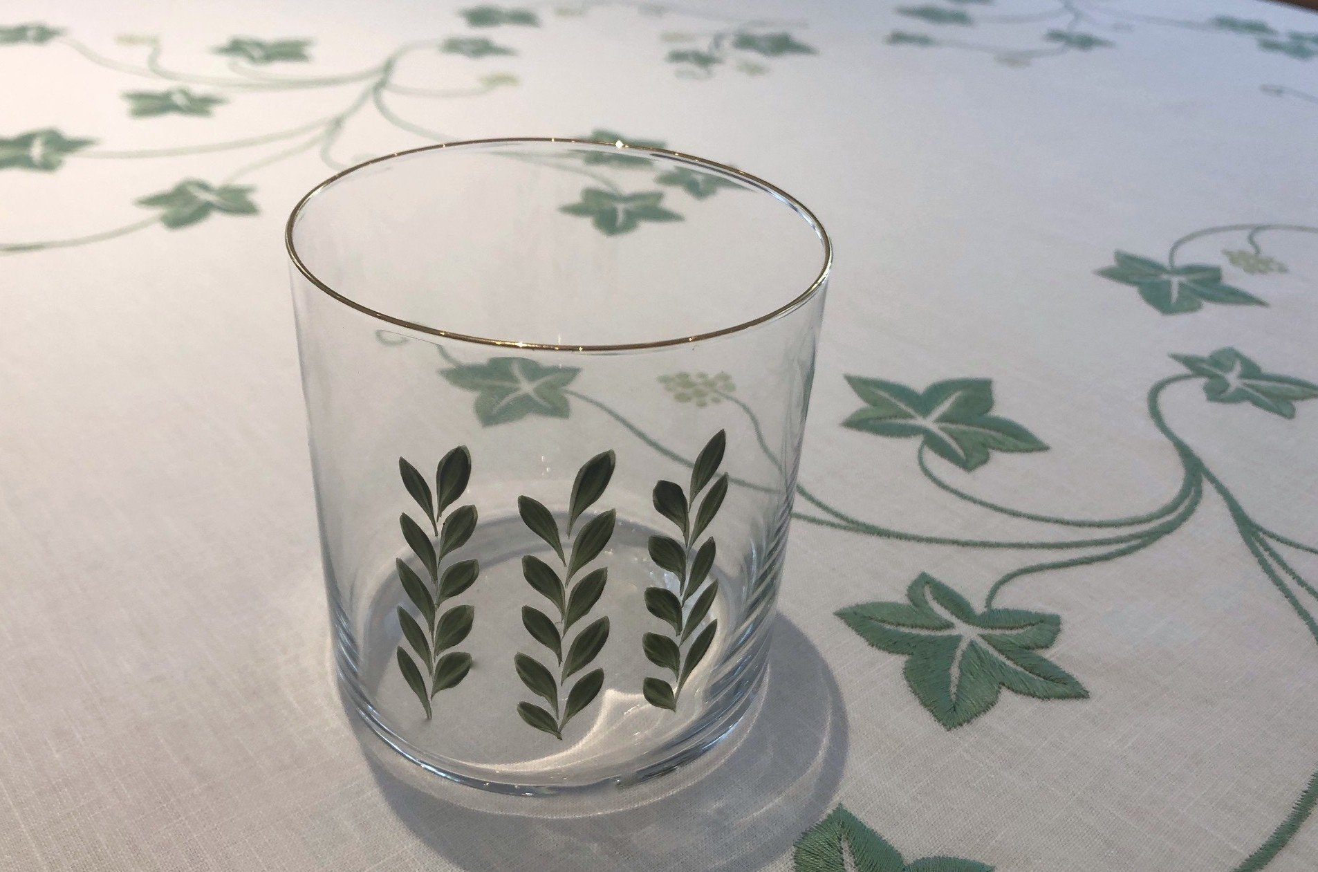 """""""Garden party"""" hand painted glass"""
