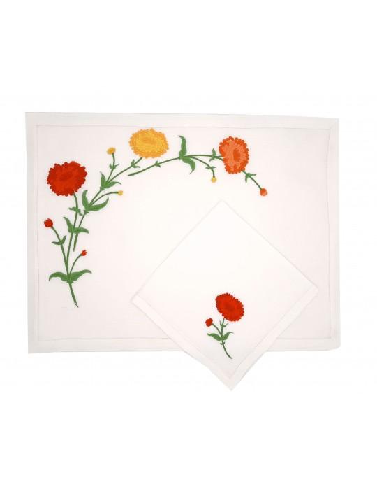 """""""Zinnias"""" hand embroidered place mat and napkin"""