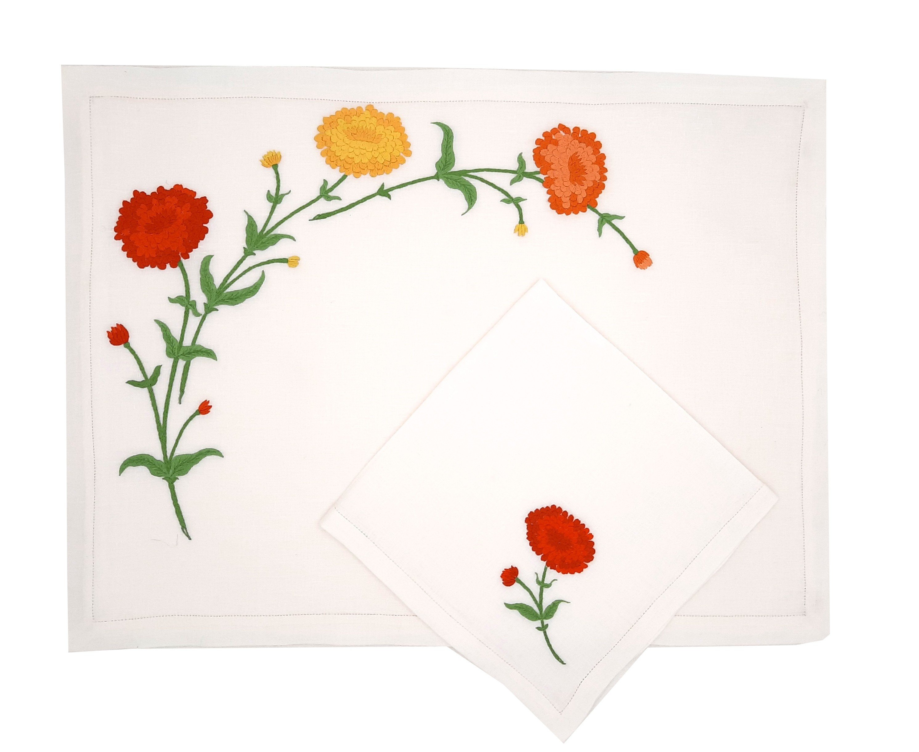 """""""Zinnias"""" hand embroidered placemat and napkin"""
