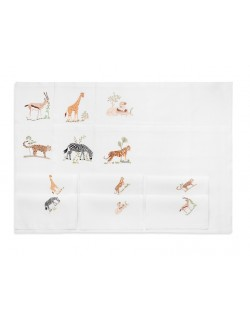 """""""Safari"""" - hand embroidered place mat and napkin"""