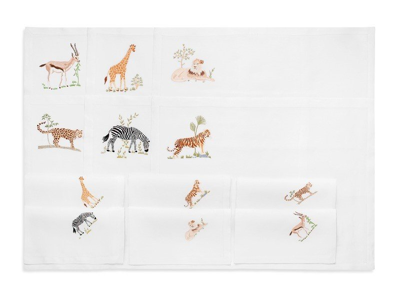 """""""Safari"""" - hand embroidered placemat and napkin"""