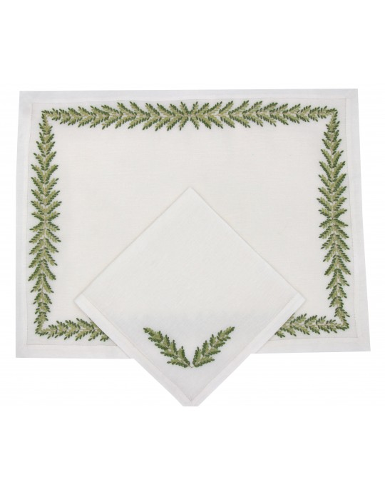 """""""Fougères Directoire"""" hand embroidered placemats and napkins"""