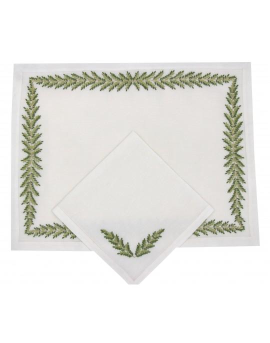 """Set de table et serviette  """"Fougère Directoire"""" - brodé main"""