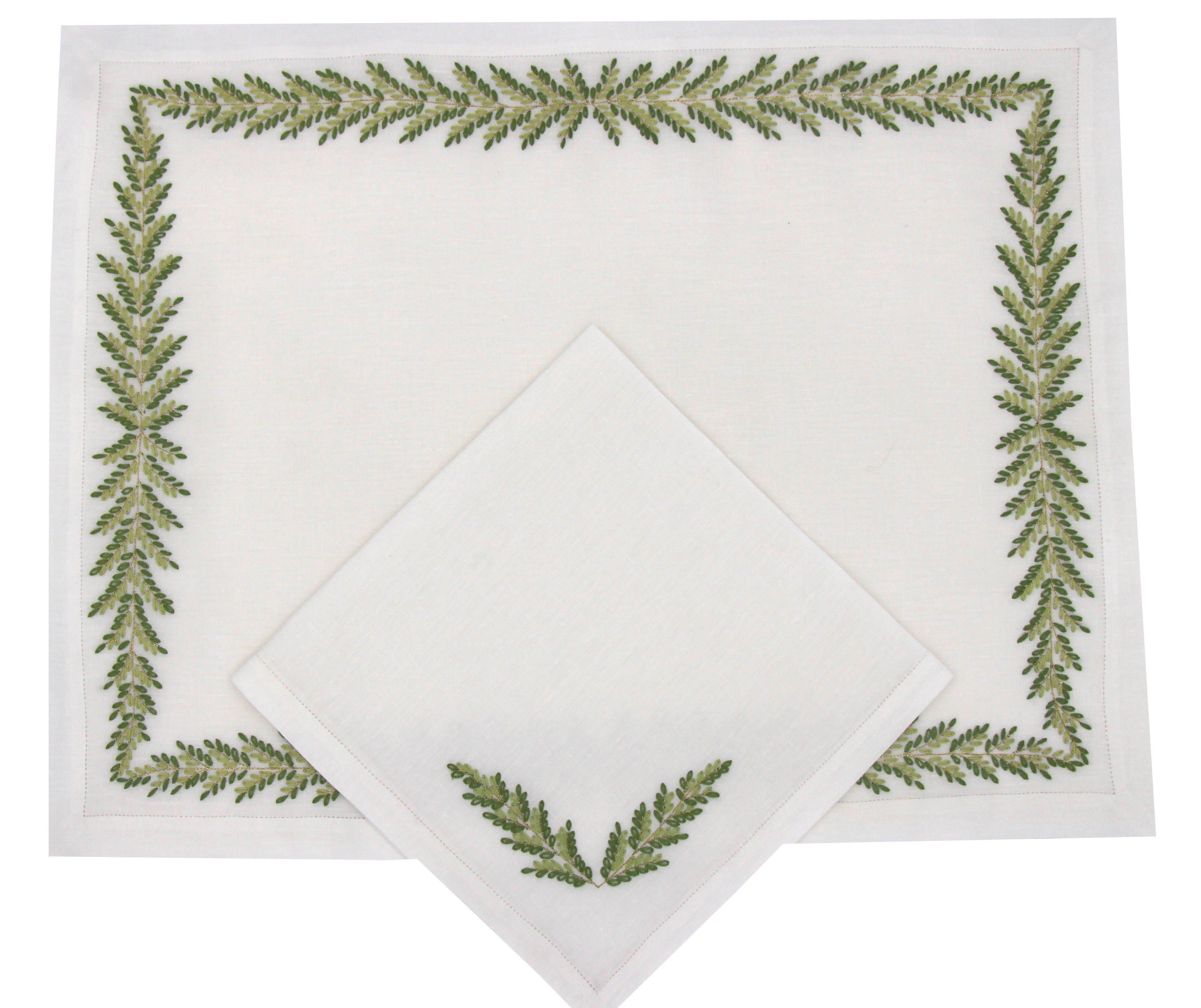 """""""Fougères Directoire"""" hand embroidered placemat and napkin"""