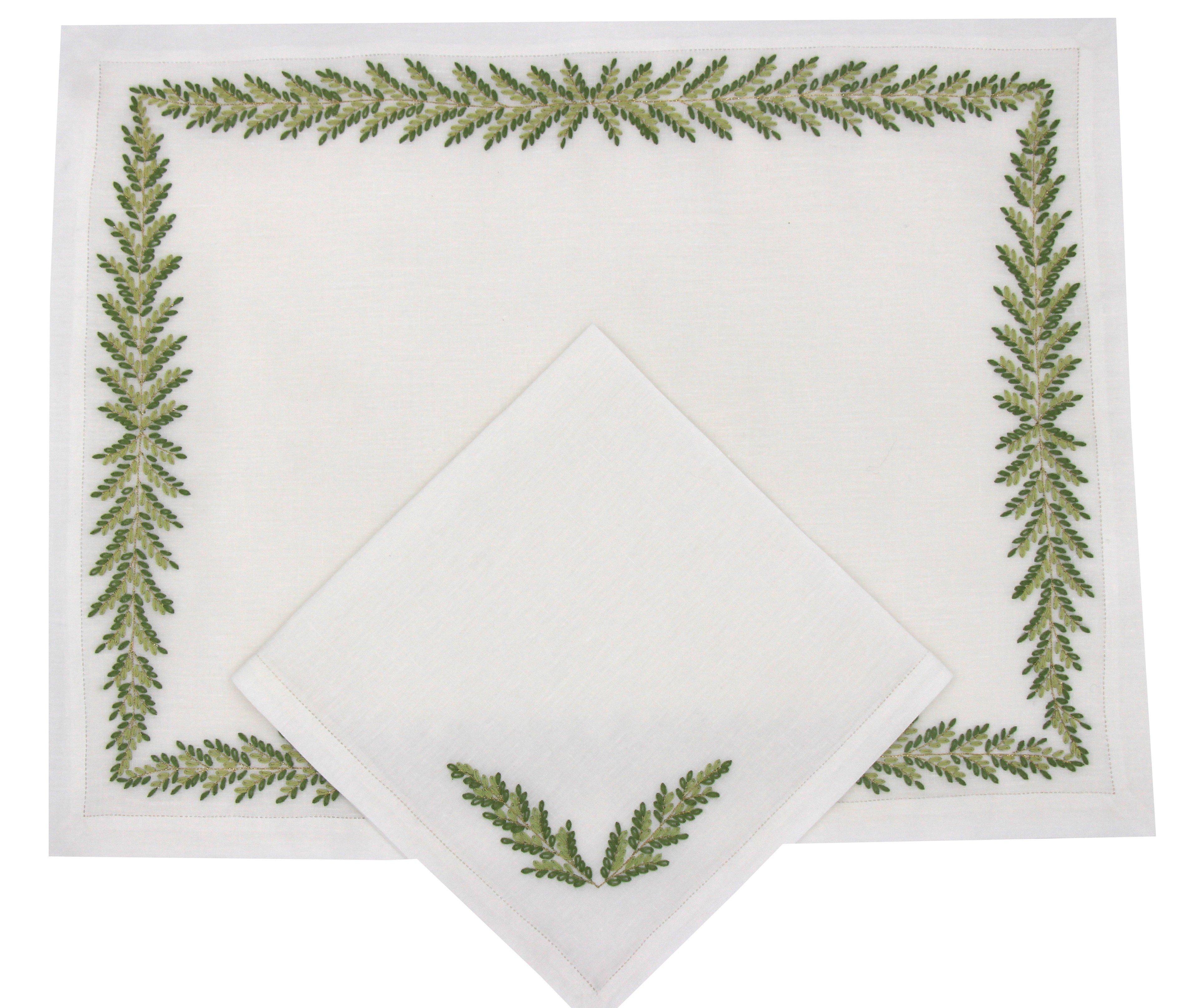 """Set de table et serviette  """"Fougère Directoire"""" - brodés main"""