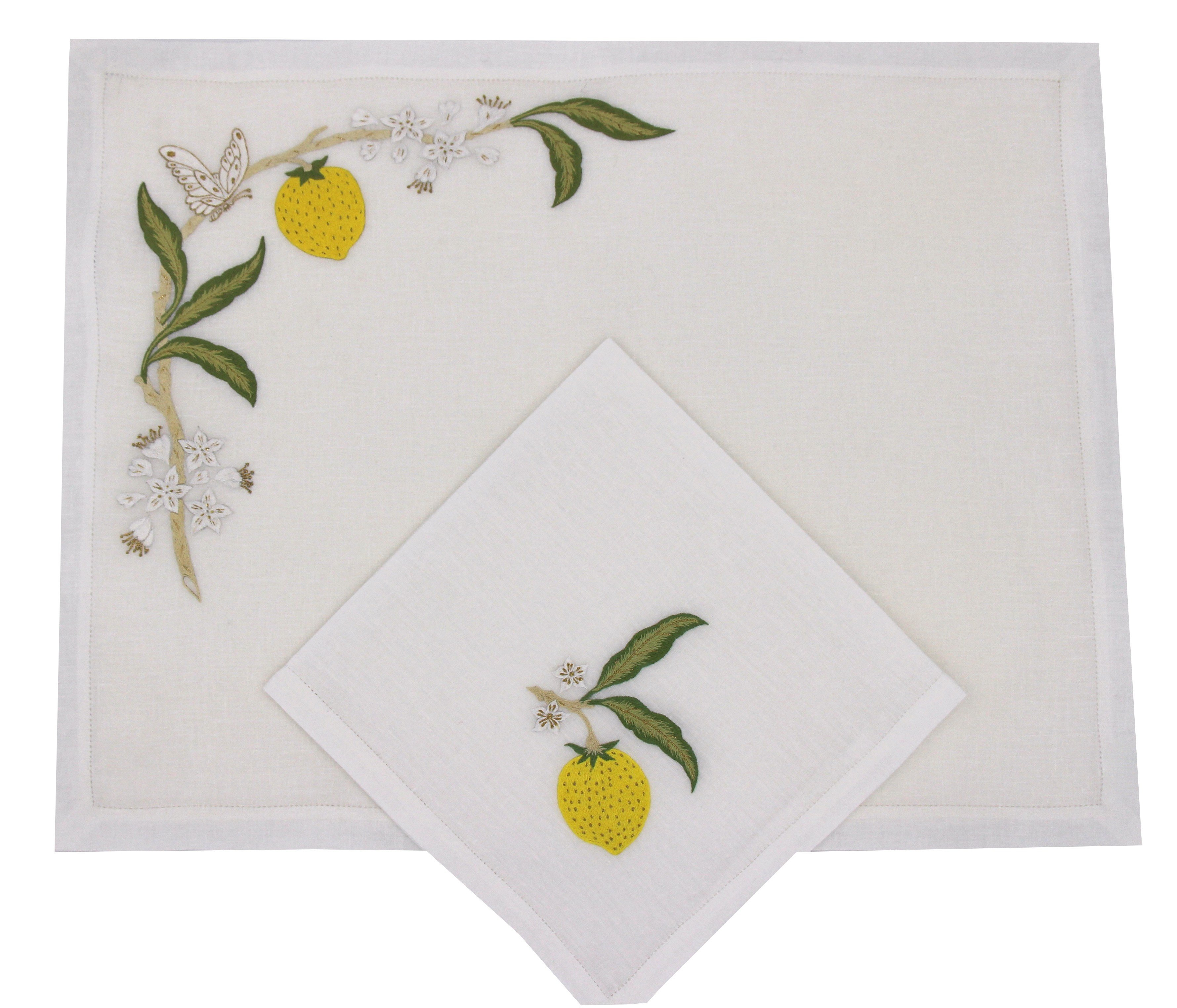 """""""Citron"""" hand embroidered placemat and napkin"""