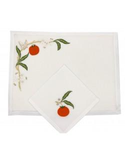 """Set de table et serviette """"Orange"""" - brodé main"""