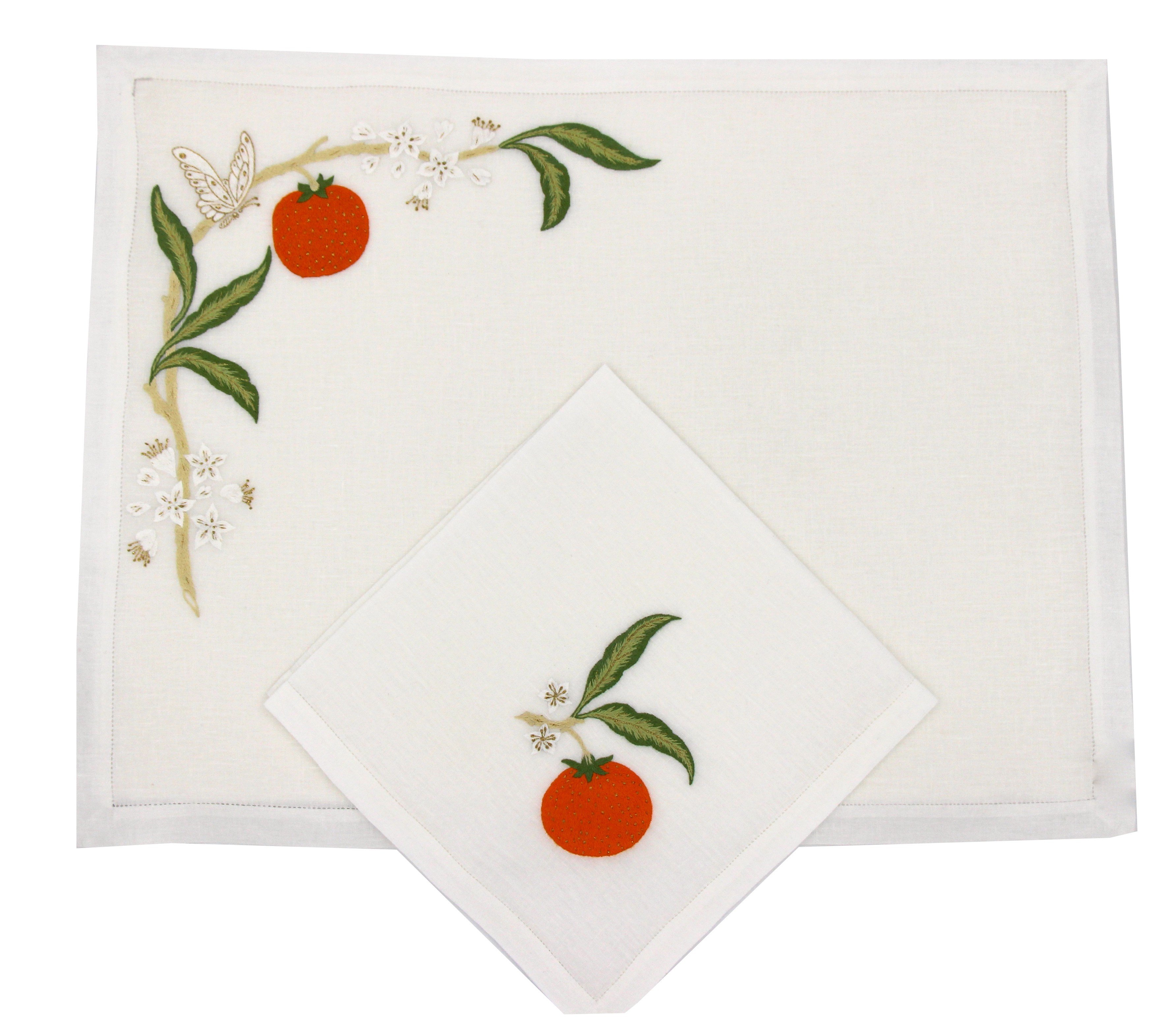 """""""Orange""""  hand embroidered placemat and napkin"""