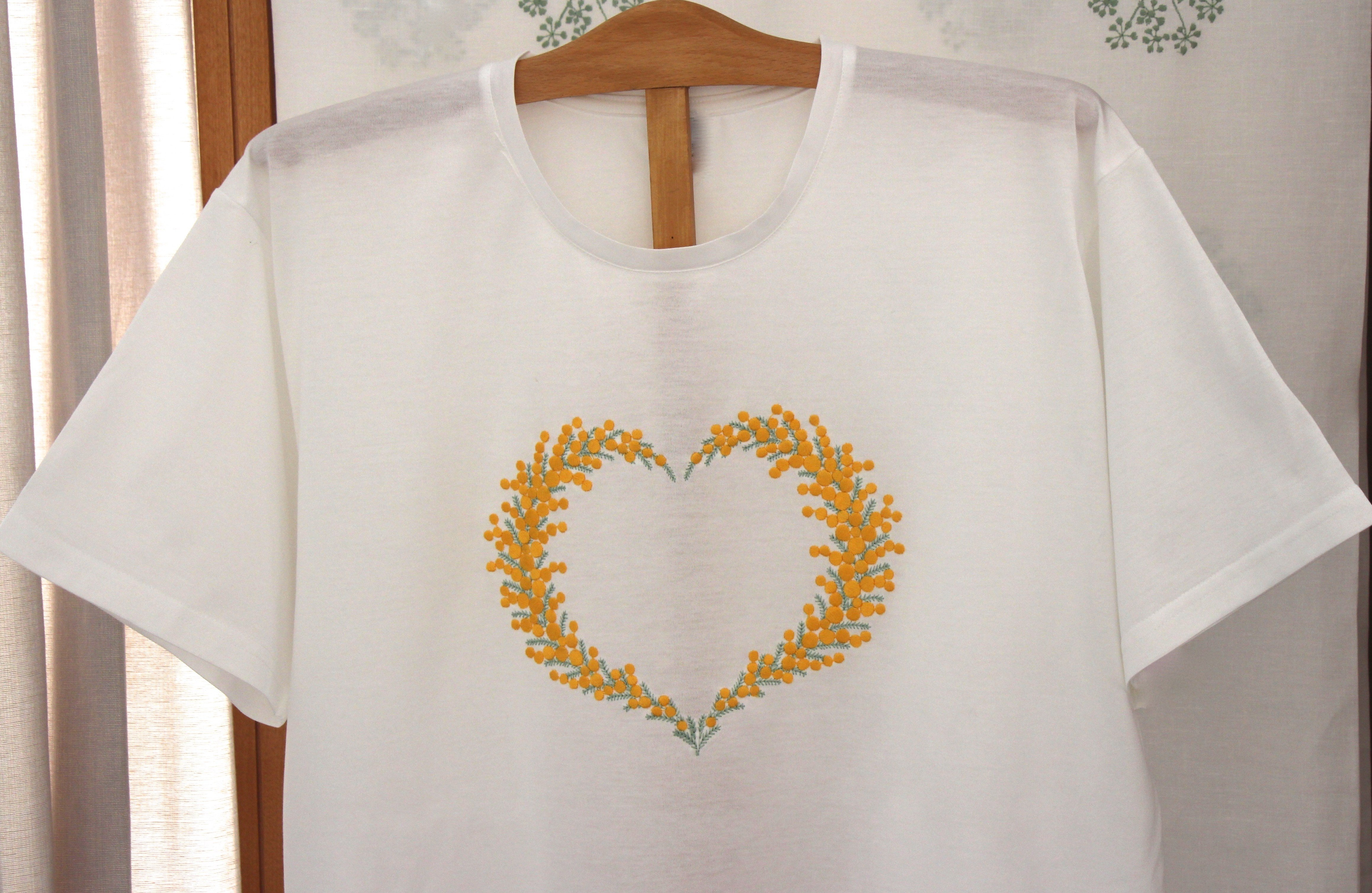 """""""Coeur de mimosa"""" embroidered night t-shirt"""
