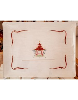 """""""Pagode"""" embroidered tray"""