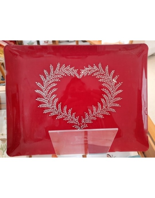 """""""Coeur de Fougère"""" embroidered tray"""