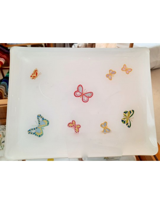 """""""Butterflies"""" embroidered tray"""