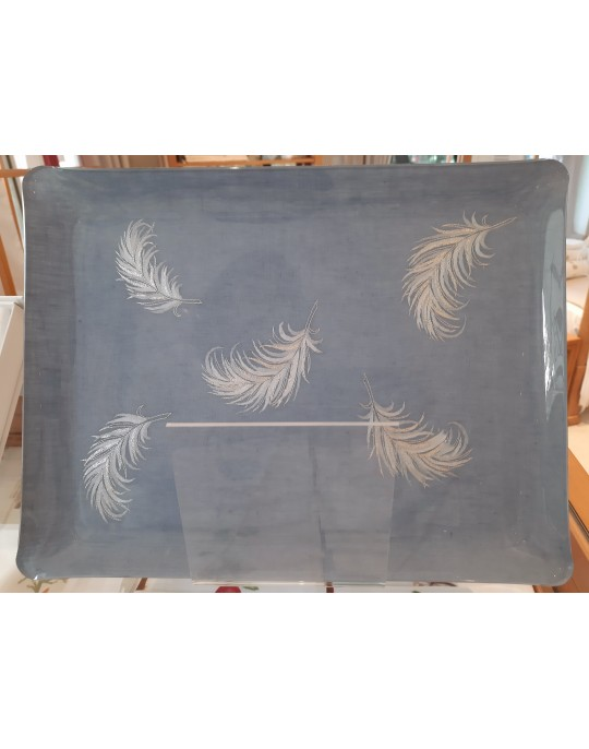 """""""Plumes"""" embroidered tray"""