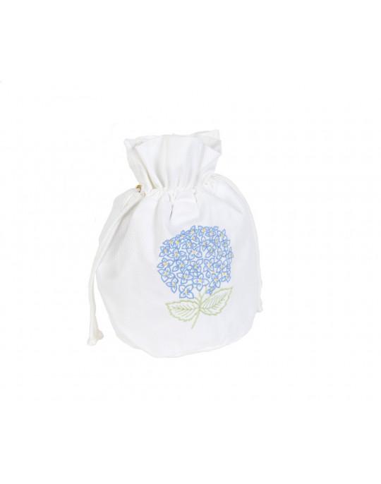 "Hortensia Bleu ""drawstring"" pouch"