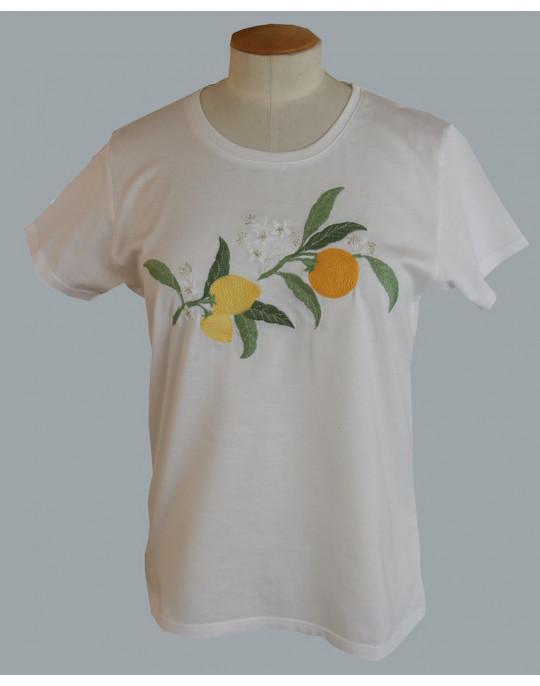 """Agrumes""(citrus fruits) embroidered t-shirt"