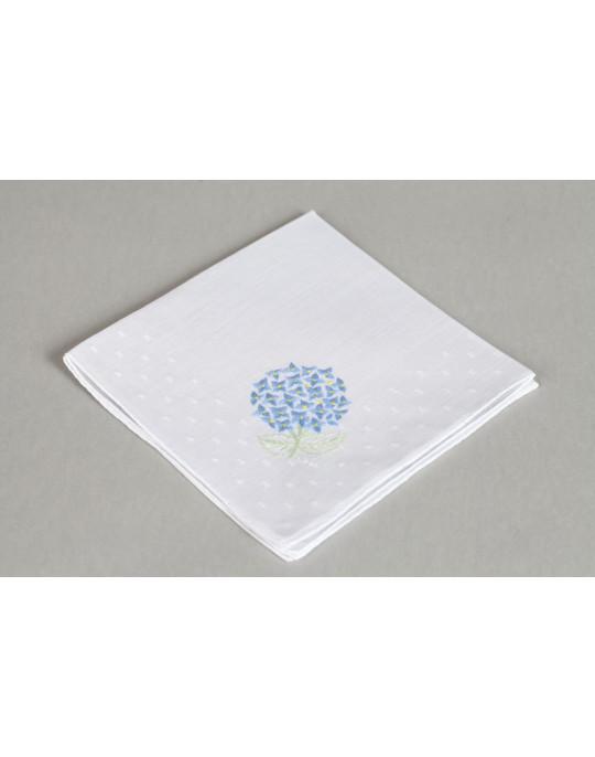 """Hortensia"" hand embroidered handkerchief"