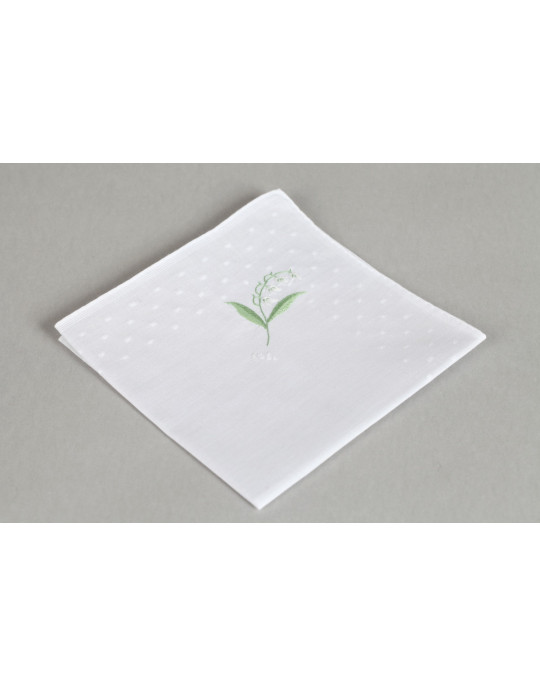 """""""Muguet"""" hand embroidered handkerchief"""